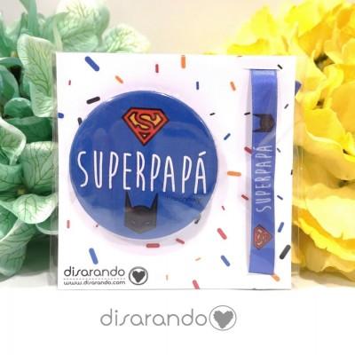 "Pack pulsera + chapa ""Super papá"""