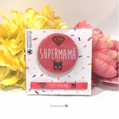"Pack pulsera + chapa ""Super mamá"""