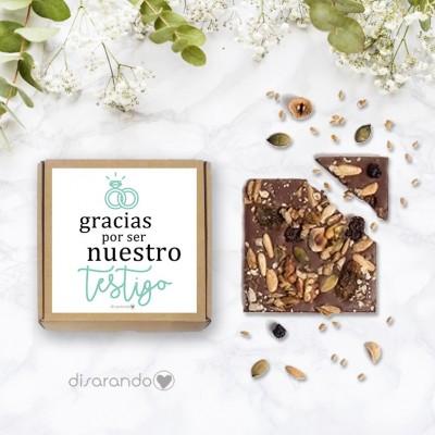 """Tableta chocolate """"Gracias por se nuestro testigo"""""""
