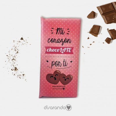 "Tableta Chocolate ""Mi corazón chocolate por ti"""