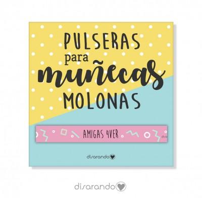 """Pulsera mensaje """"Amigas 4ever"""""""