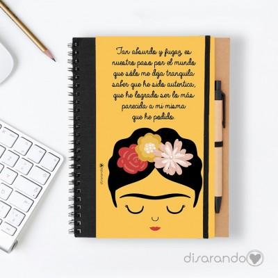 """Libreta Frida Khalo """"Tan absurdo y fugaz es nuestro paso por el mundo... """""""