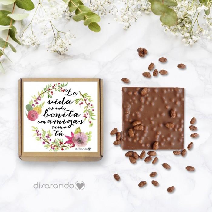 """Tableta chocolate """"La vida es más bonita con amigas como tú"""""""