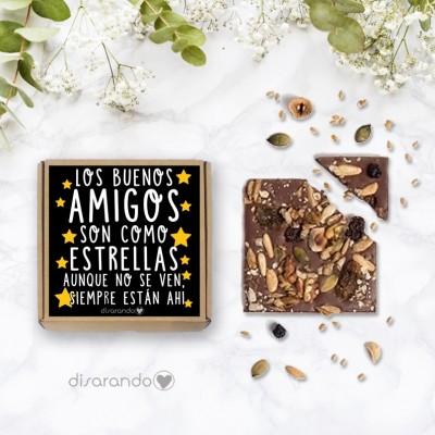 """Tableta chocolate """"Los buenos amigos son como las estrellas, siempre están ahí""""."""