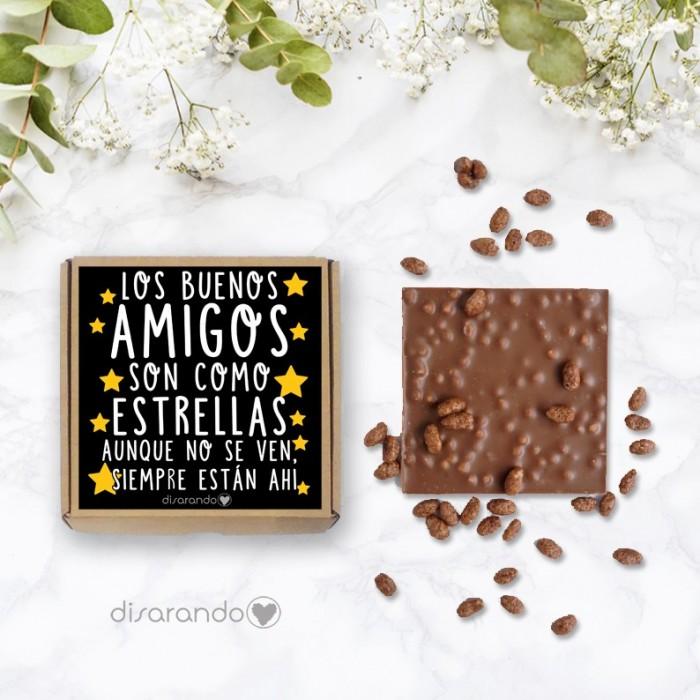 """Tableta chocolate """"Los amigos son como estrellas"""""""