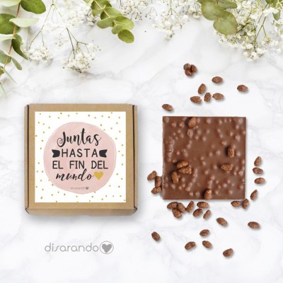 "Tableta chocolate ""Juntas hasta el fin del mundo"""