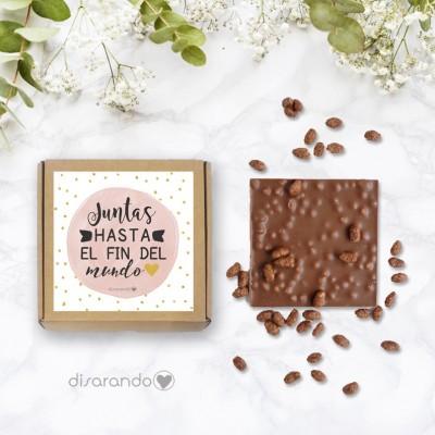 """Tableta chocolate """"Juntas hasta el fin del mundo"""""""