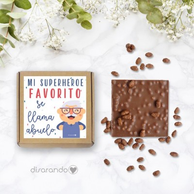 "Tableta Chocolate ""Mi superhéroe favorito se llama abuelo"""