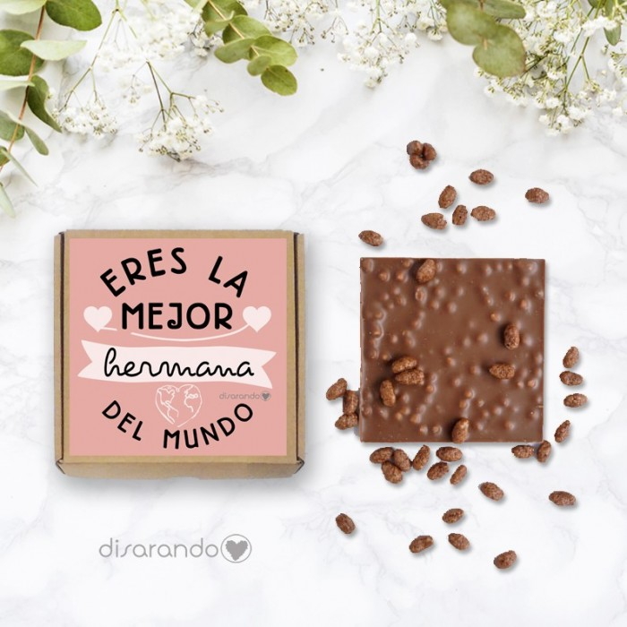 "Tableta chocolate ""Eres la mejor hermana del mundo entero"""