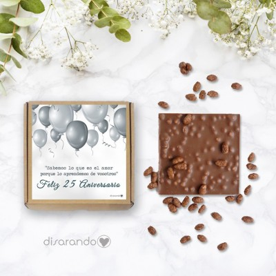"Tableta chocolate ""Bodas de plata, 25 Aniversario"""