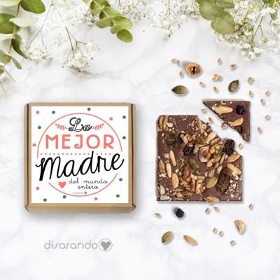 """Tableta chocolate """"La mejor madre del mundo entero"""" (lunares)"""