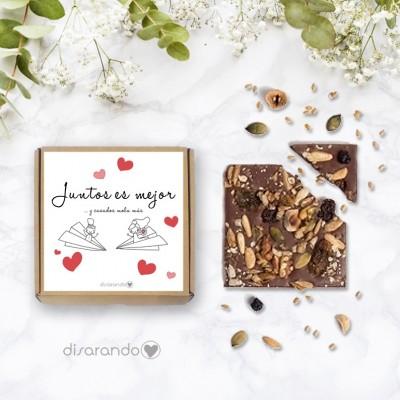 """Tableta chocolate """"Juntos es mejor y Casados mola más"""""""