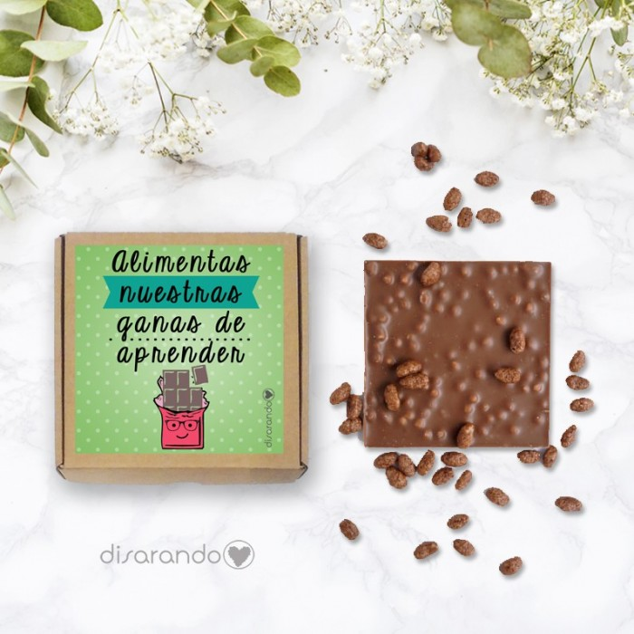 """Tableta chocolate """"Alimentas nuestras ganas de aprender"""""""