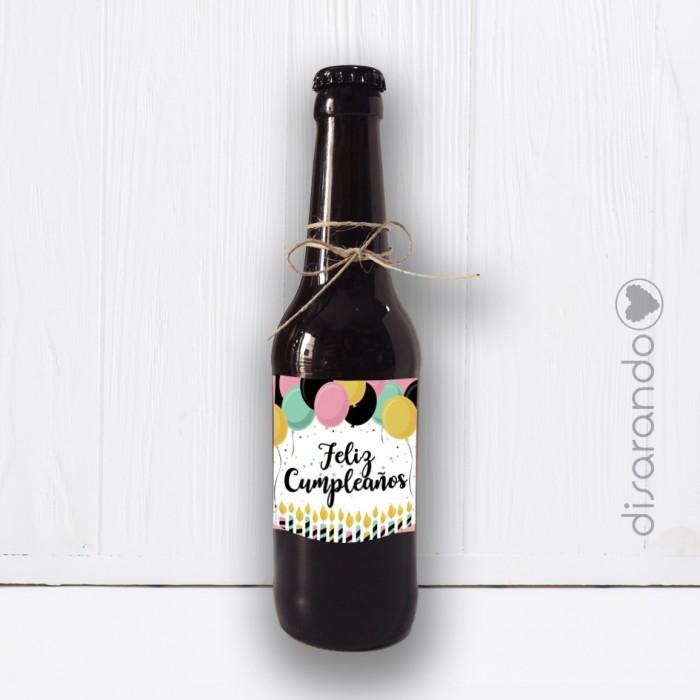 Botellín Cerveza Feliz Cumpleaños