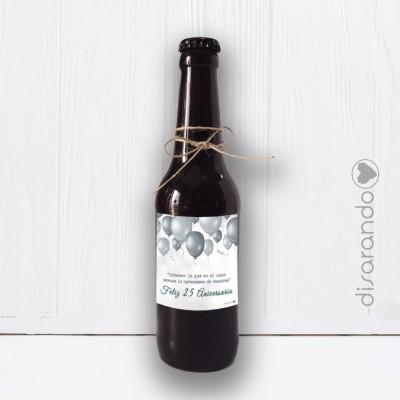 """Botellín Cerveza Artesana """"Bodas de Plata, 25 Aniversario"""""""