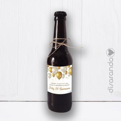 "Botellín Cerveza Artesana ""Bodas Oro, 50 Aniversario"""