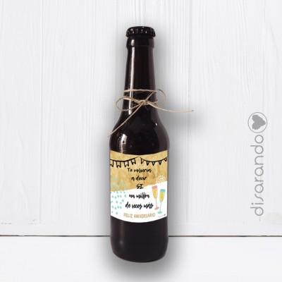 "Botellín Cerveza Artesana ""Feliz Aniversario"""