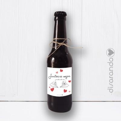 """Botellín Cerveza Artesana """"Juntos es mejor y casados mola más"""""""