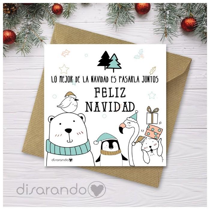 Tarjeta Animalitos Navidad